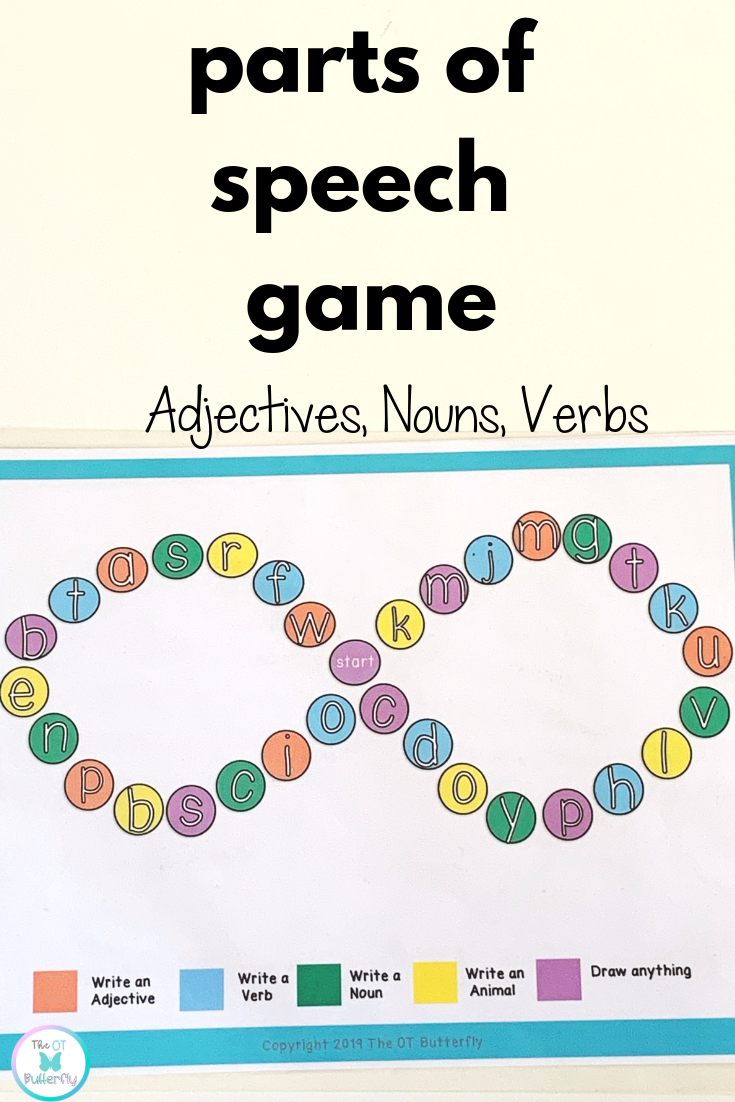 Review Parts Of Speech Noun Verb Adjective While Practicing Handwriting Visual Perceptual Sk Part Of Speech Noun Kids Handwriting Practice Parts Of Speech