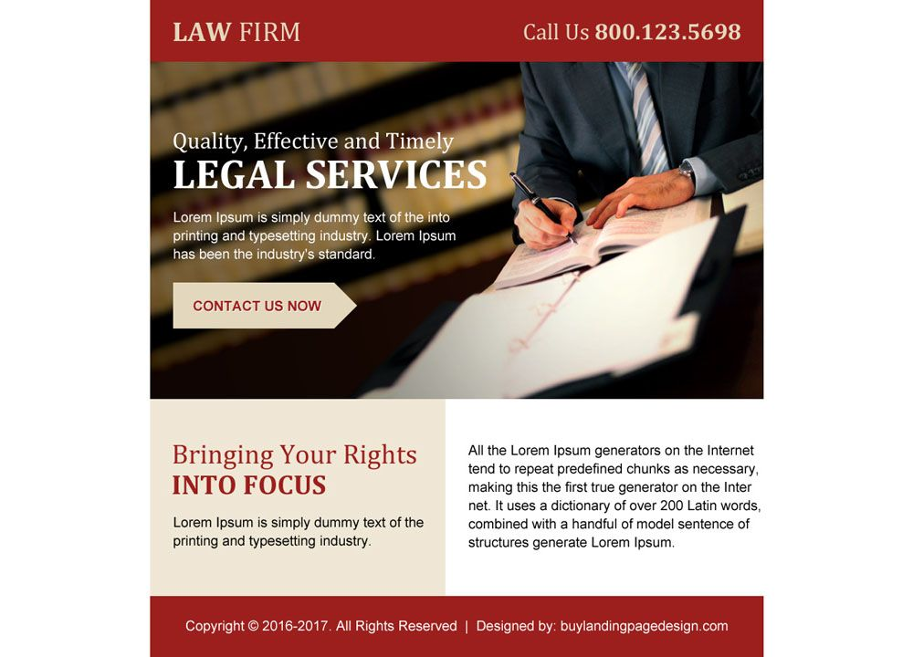 law firm ppv landing page design for legal services law ppv - law firm brochure