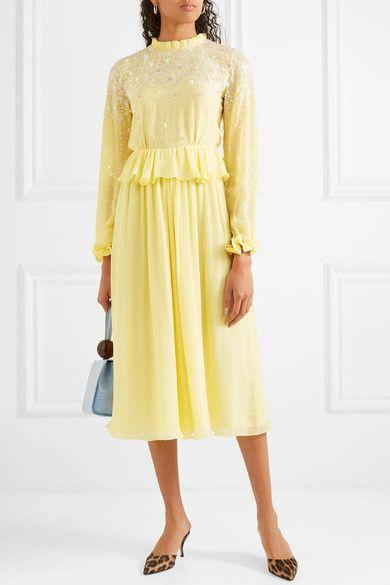 e826d7f6 Stine Goya | Gala ruffled sequin-embellished chiffon midi dress |  NET-A-PORTER.COM