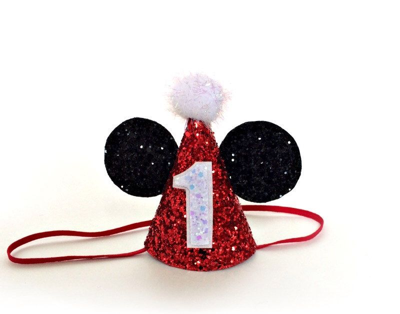 Minnie Mouse Birthday Hat Glitter Red Mickey Mouse Disney Party Hat Cake Smash by littleblueolive on Etsy https://www.etsy.com/listing/229467123/minnie-mouse-birthday-hat-glitter-red
