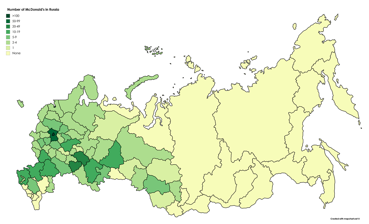 Number of McDonalds in Russia Maps Pinterest