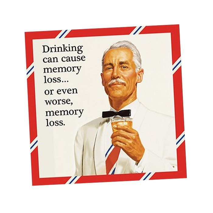 Drinking can cause memory loss.. or even worse, memory loss. Funny Cocktail napkins for your next party!