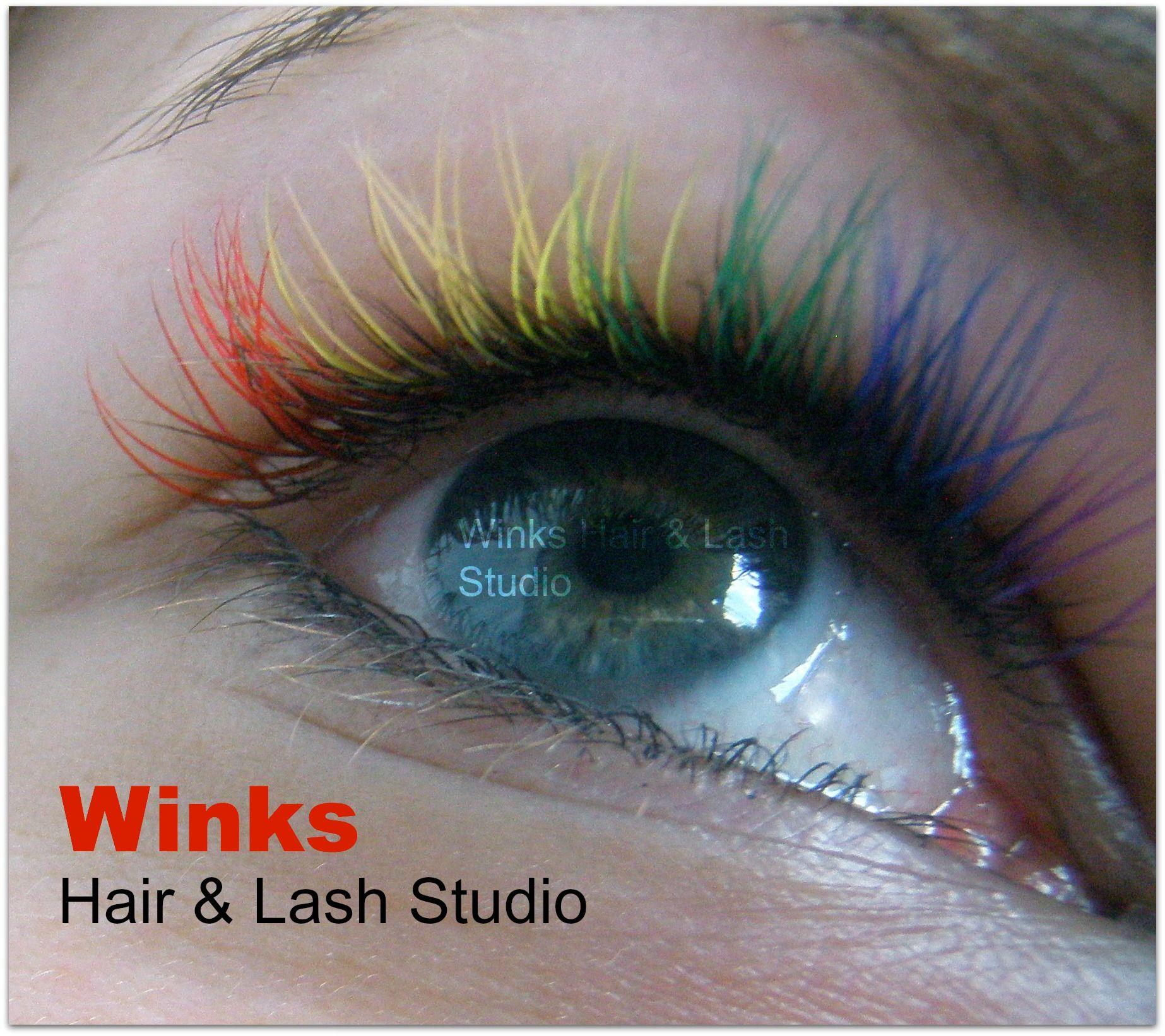 blue eyes rainbow eyelash extensions Eyelash extensions