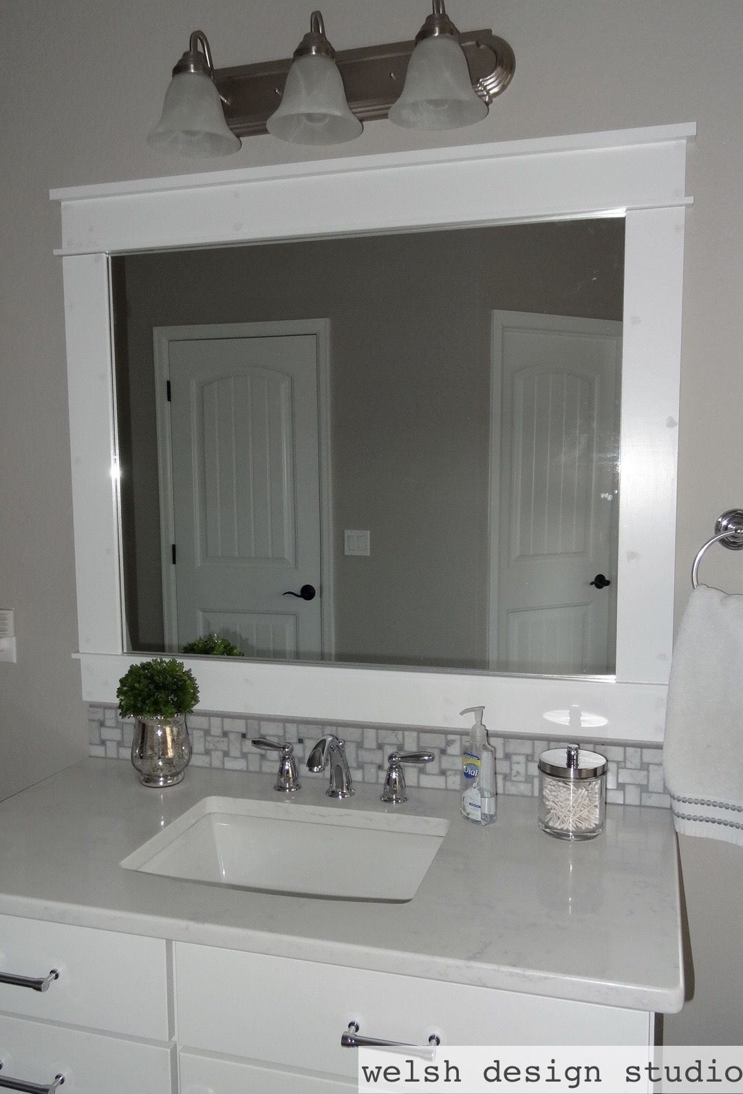 Visit Our Blog To See How We Built And Installed These Craftsman Style Diy Framed Bathroom Mirror Bathroom Mirror Frame Bathroom Mirrors Diy Craftsman Bathroom