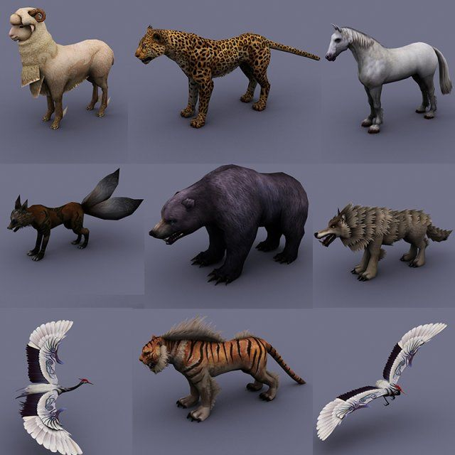 3D Model Animals pack bear fox sheep tiger wolf c4d, obj, 3ds, fbx, ma, lwo 93805