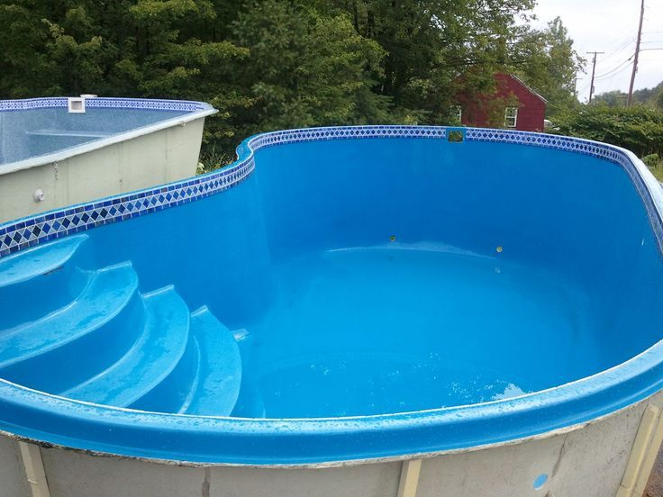 Awesome Kidney Shaped Above Ground Pool In Blue Hues Above