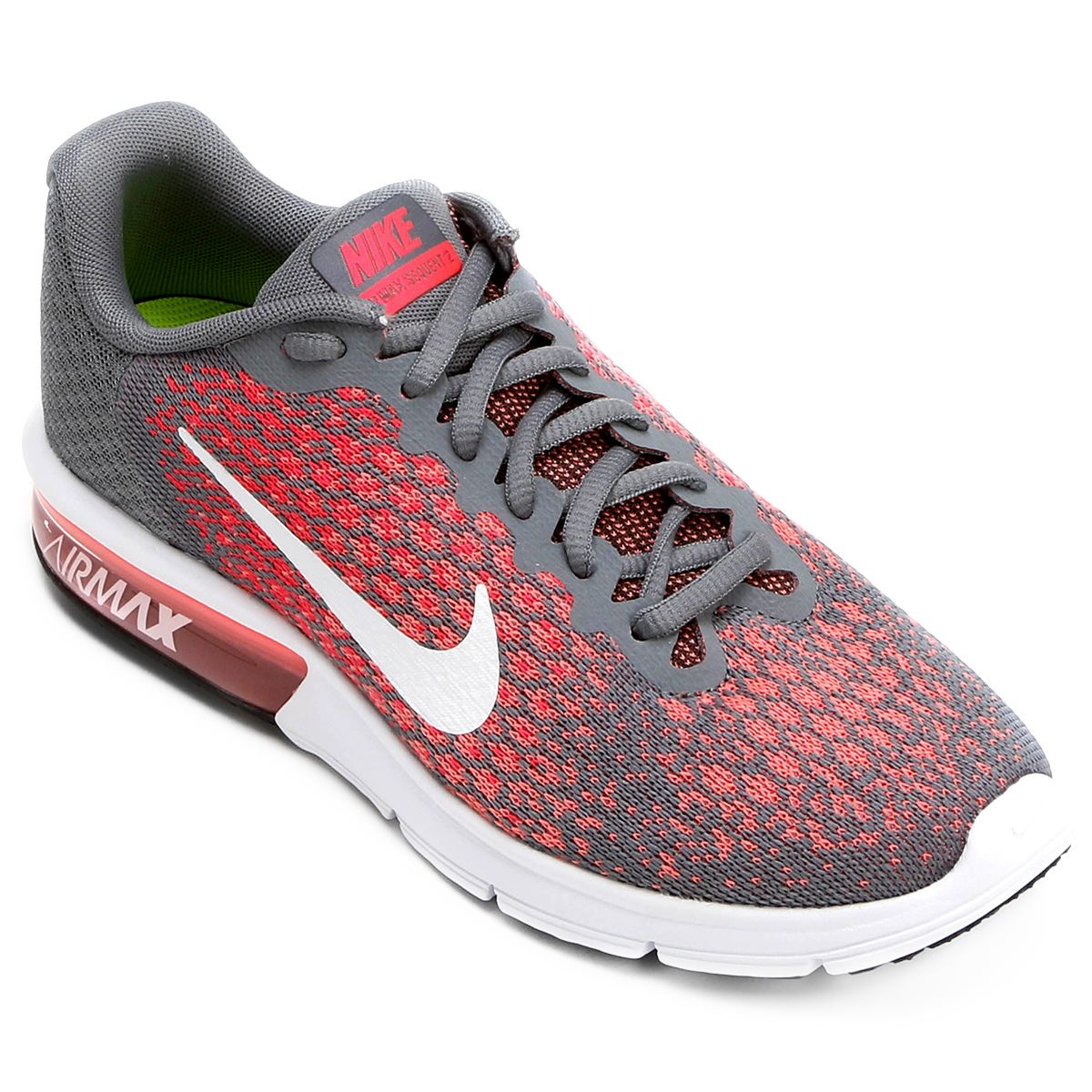 34d3db3c84 Tênis Nike Air Max Sequent 2 Feminino - Cinza e Vermelho