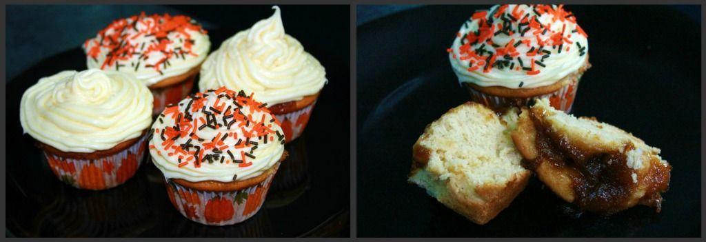 Apple Peach Caramel Explosion Cupcakes