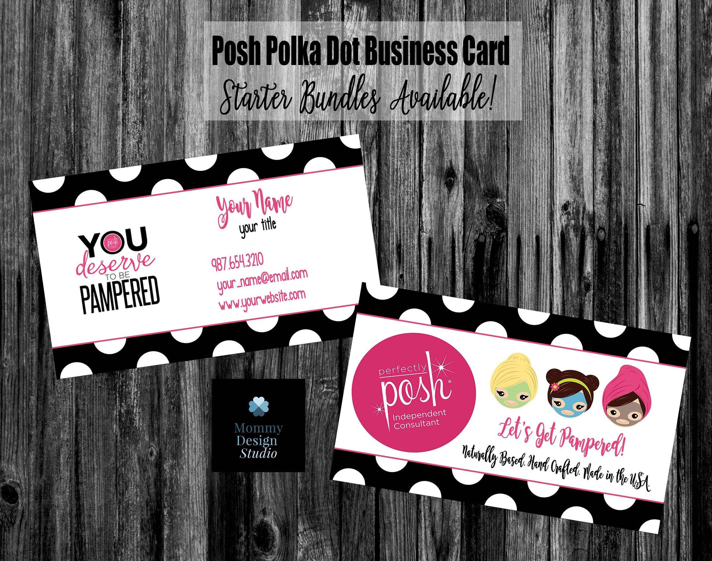 Perfectly Posh Polka Dot Business Card Home fice pliant