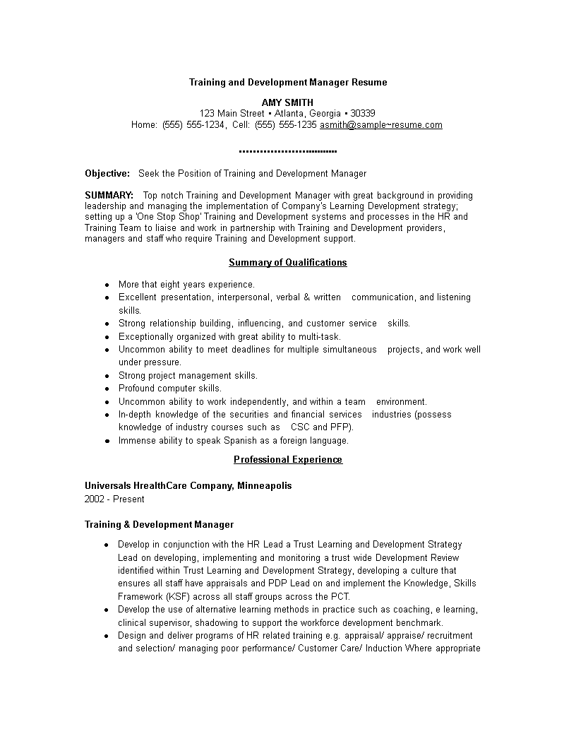 Training And Development Manager Resume How To Draft A Training And Development Manager Resume Download This Manager Resume Training And Development Resume