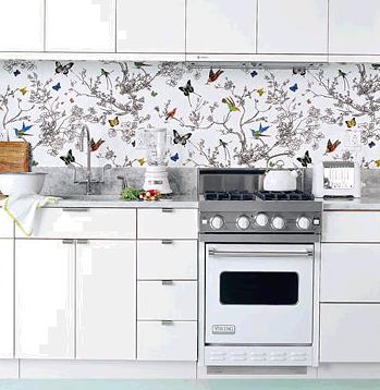 A Wallpaper Splashback That S A Real Tweet Wallpaper Backsplash Kitchen White Kitchen Appliances Kitchen Wallpaper