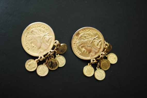 Vintage 80s gold tone metal roman coin dangle clip on by VezaVe, $18.00