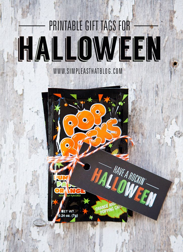 Pop Rocks Free Printable Gift Tags for Halloween Free printable - cute halloween gift ideas