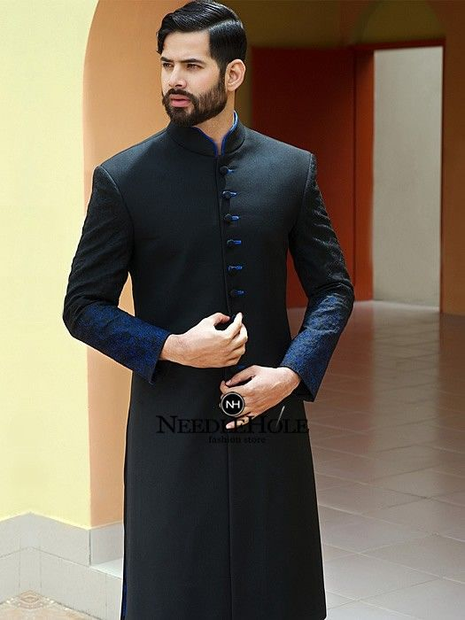 Awesome Embroidered Sherwani Dress For Men In Black Color With Blue