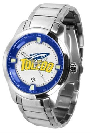 Toledo Rockets NCAA Mens Titan Steel Watch by SunTime. $121.95. Links Make Watch Adjustable. Men. Stainless Steel. Officially Licensed Toledo Rockets Men's Stainless Steel Outdoor Watch. AnoChrome Bezel. This superb quality Titan Watch timepiece with Stainless Steel Band features a quartz accurate movement stainless steel band and your favorite collegiate logo. The Titan Steels stylish design enables you to express your loyal school spirit with a more formal flair.