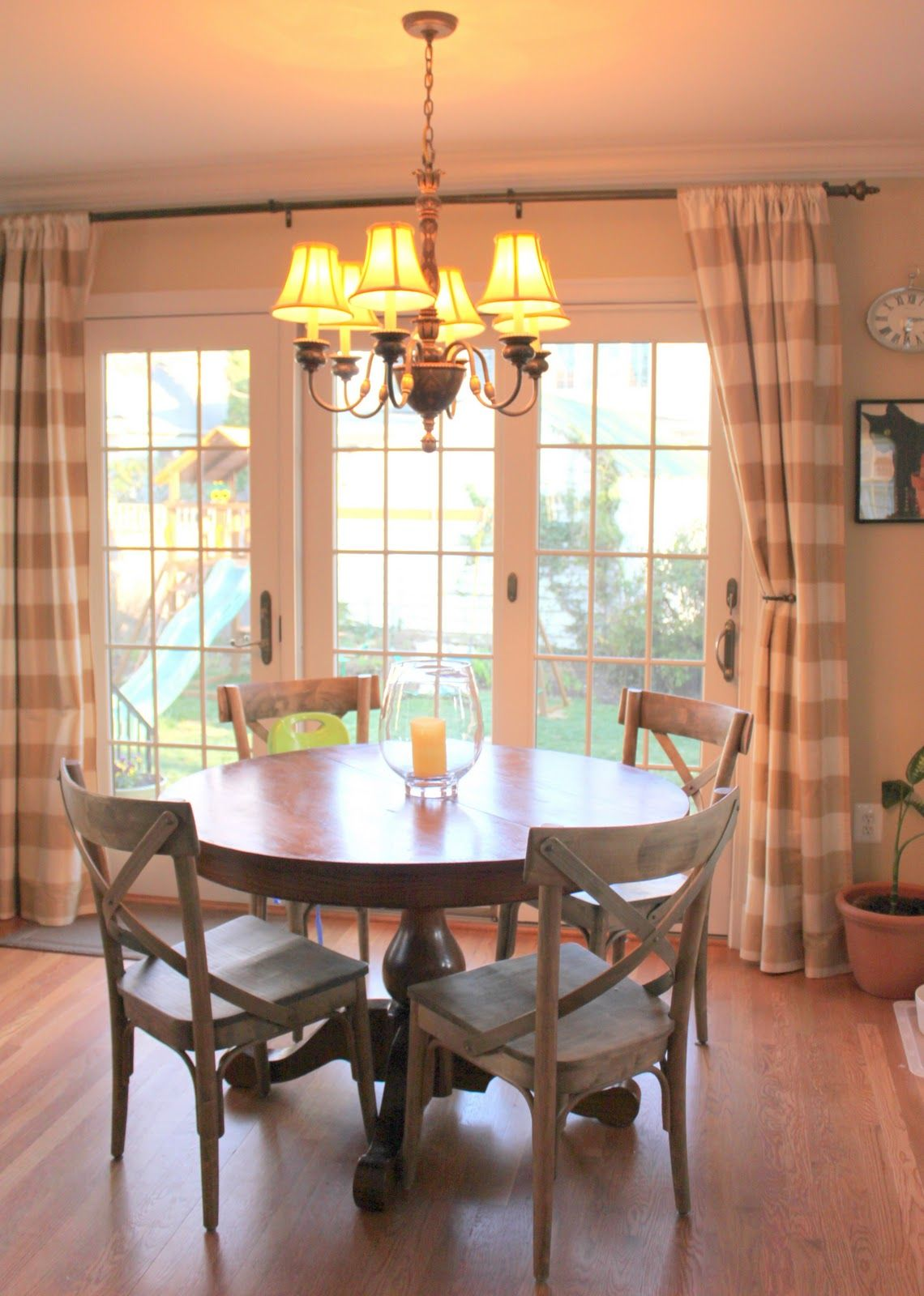 Sliding glass door curtain ideas love the country chairs for Dining room ideas with french doors