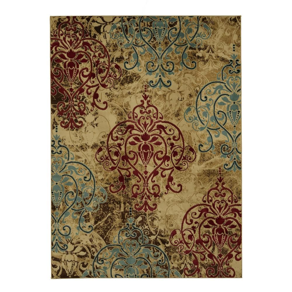 Elegant Collection Abstract Damask Contemporary Modern Multi 5 Ft