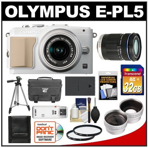 Olympus Pen E Pl5 Digital Camera Body 14 42mm Ii R Lens White Silver With 40 150mm Ed Lens 32gb Card Case Bat Digital Zoom Olympus Pen Digital Camera