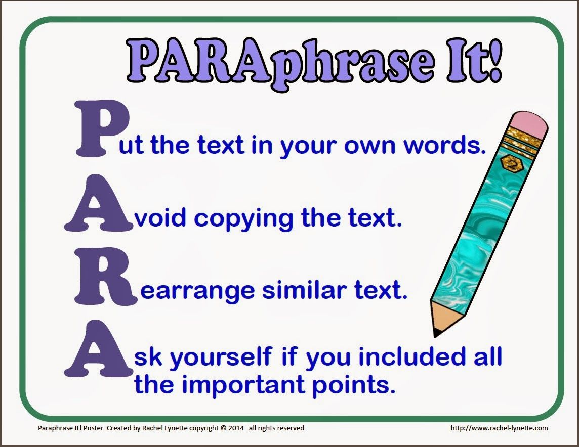 Teaching Kids To Paraphrase Step By Step