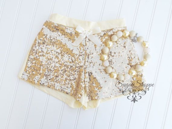 Gold Sequin Shorts Baby Girls Sparkly Birthday by sugarshoppe