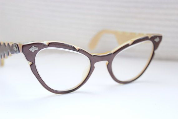 50s Cat Eye Glasses 1950\'s Carved Frame Womens Brown and Tan Rare ...