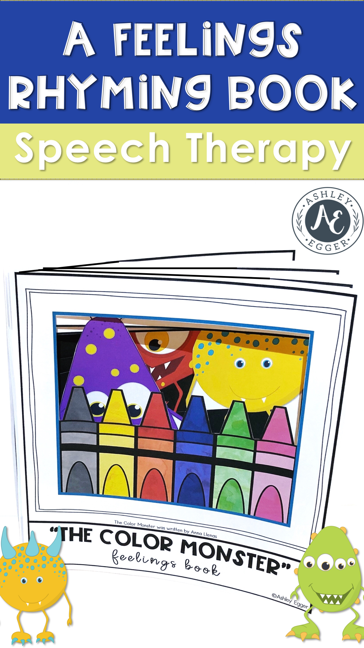 A Color Monster Feelings Rhyming Book Speech Therapy