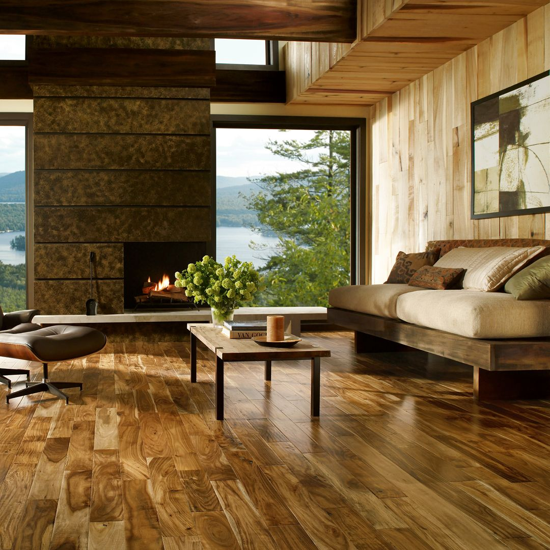 acacia hardwood flooring ideas. Create Your Mountainside Retreat With Beautiful Natural Textures Like This Acacia Hardwood | Living Room Ideas Flooring O
