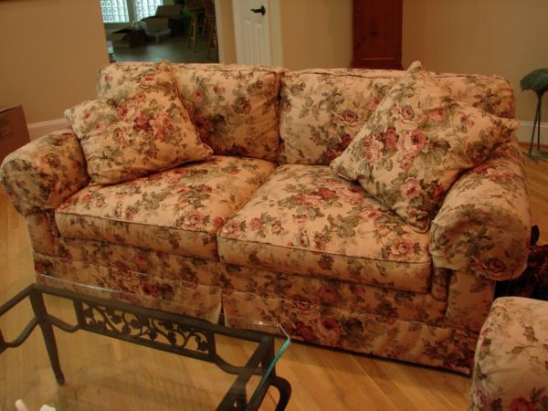 Overstuffed couch and two matching chairs with Tea Stained