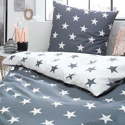 Bettwaesche Sterne Stars Grau Silber Weiss Himmel Modern  Good Ideas
