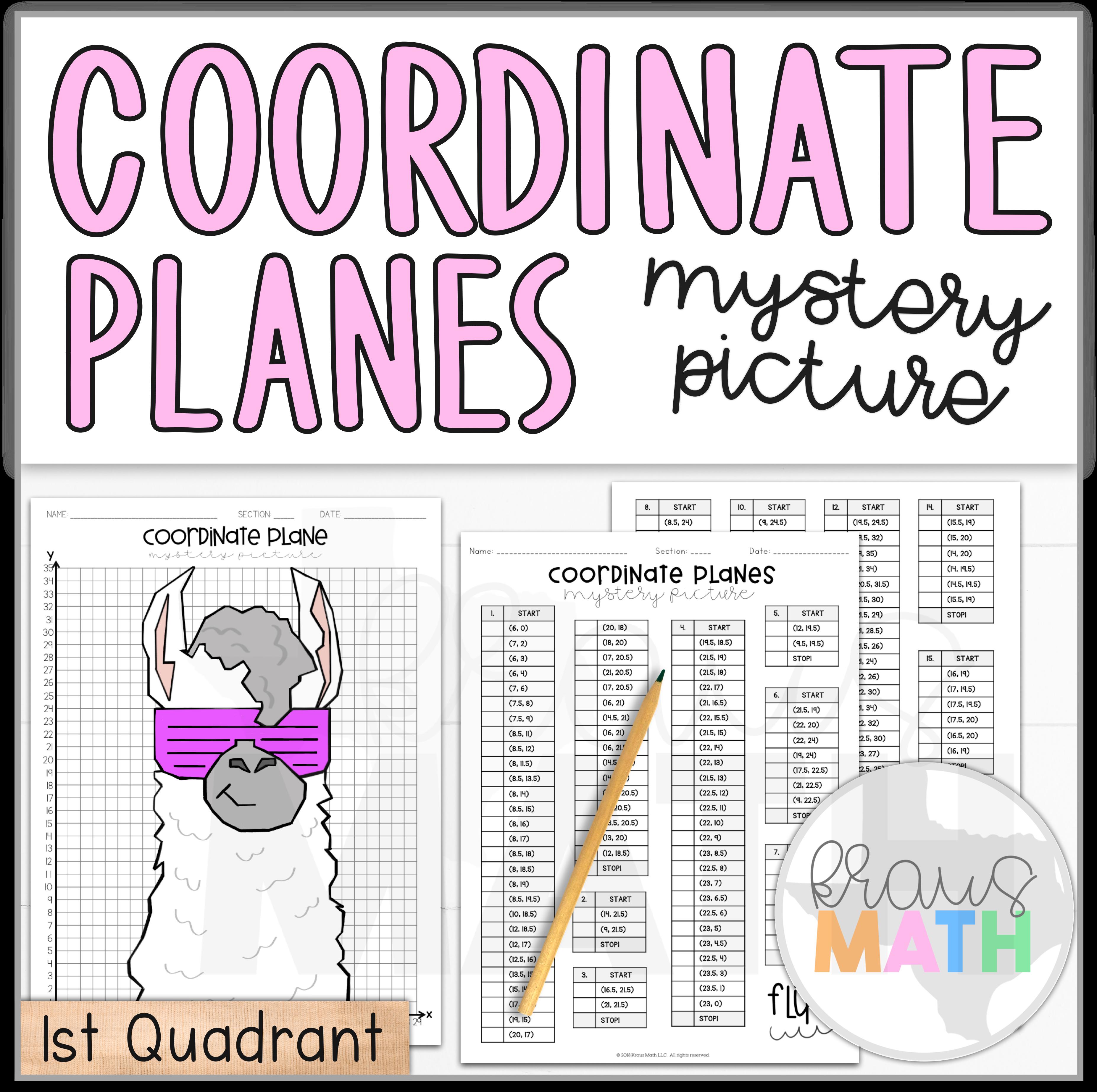Trendy Llama Coordinate Plane Activity 1st Quadrant