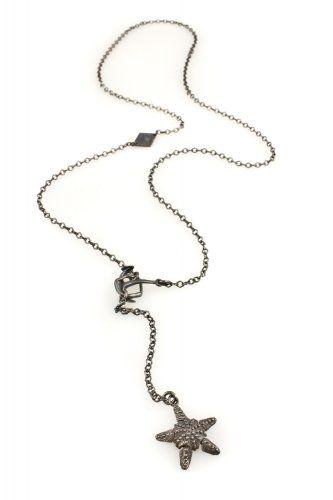 Oxidized Silver Star Fish Pendant Necklace