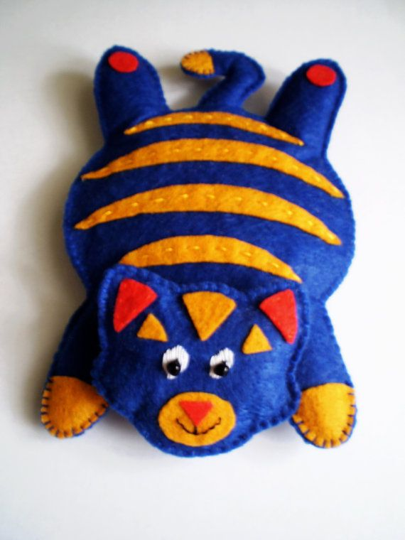 Educational toy Cat of felt Stand for cups Stand cup Blue cat From the felt Stand under the hot Tabby cat