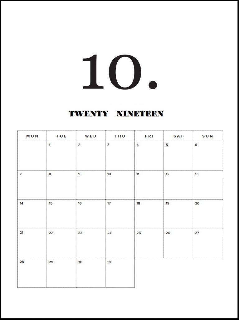 Modern Minimal 2019 Monthly Calendar Calendar Printables
