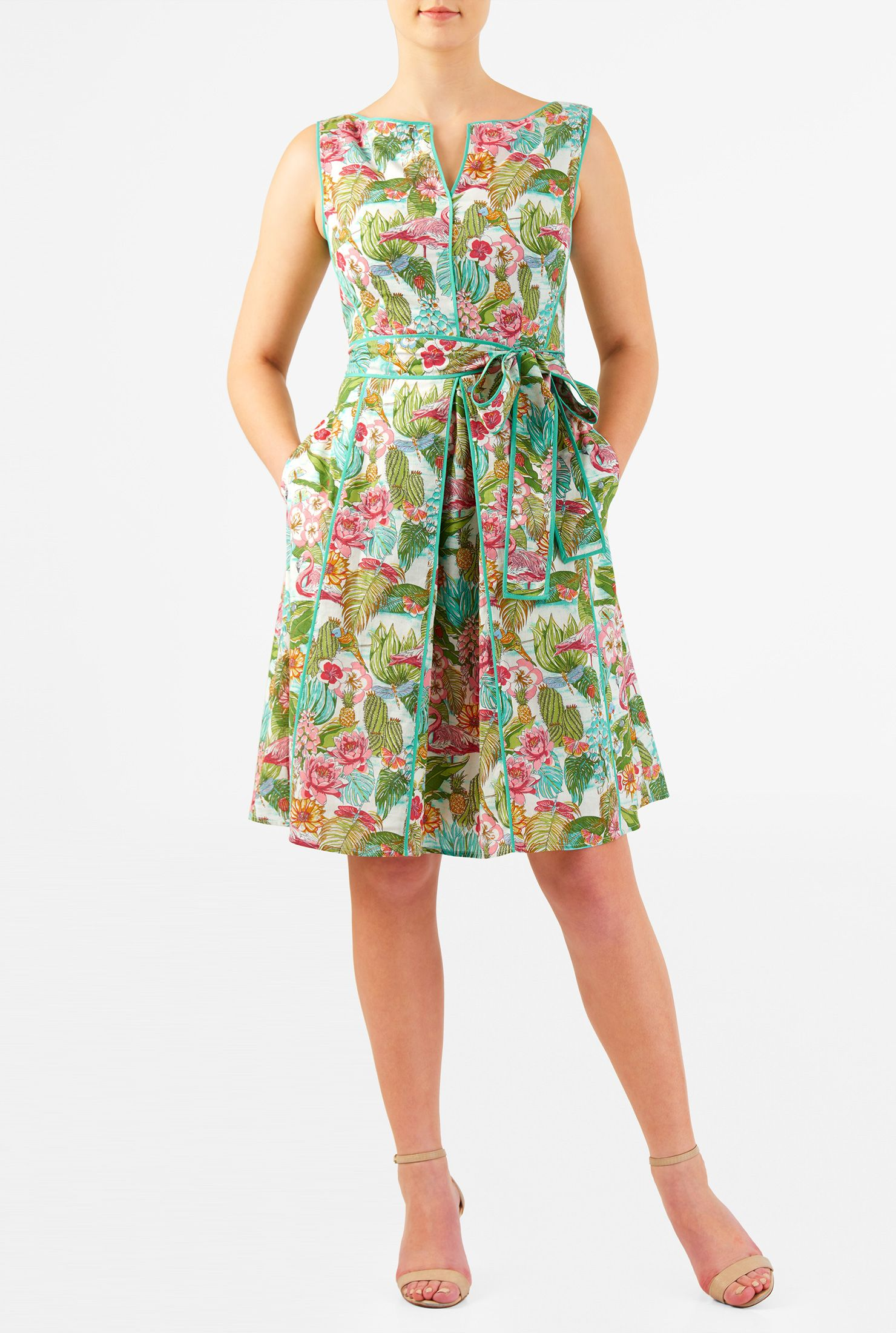 Our Tropical Summer Print Cotton Cambric Dress Is Styled With Solid Piped Trim That Highlights The Split Boat Nec Dresses Fashion Clothes Women Maxi Knit Dress [ 2200 x 1480 Pixel ]