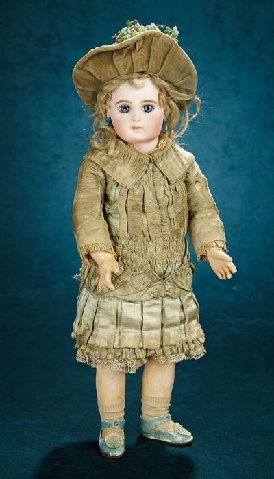 Forever Young - Marquis Antique Doll Auction: 106 Early French Bisque Portrait Bebe, Original Costume and Signed Shoes, Emile Jumeau