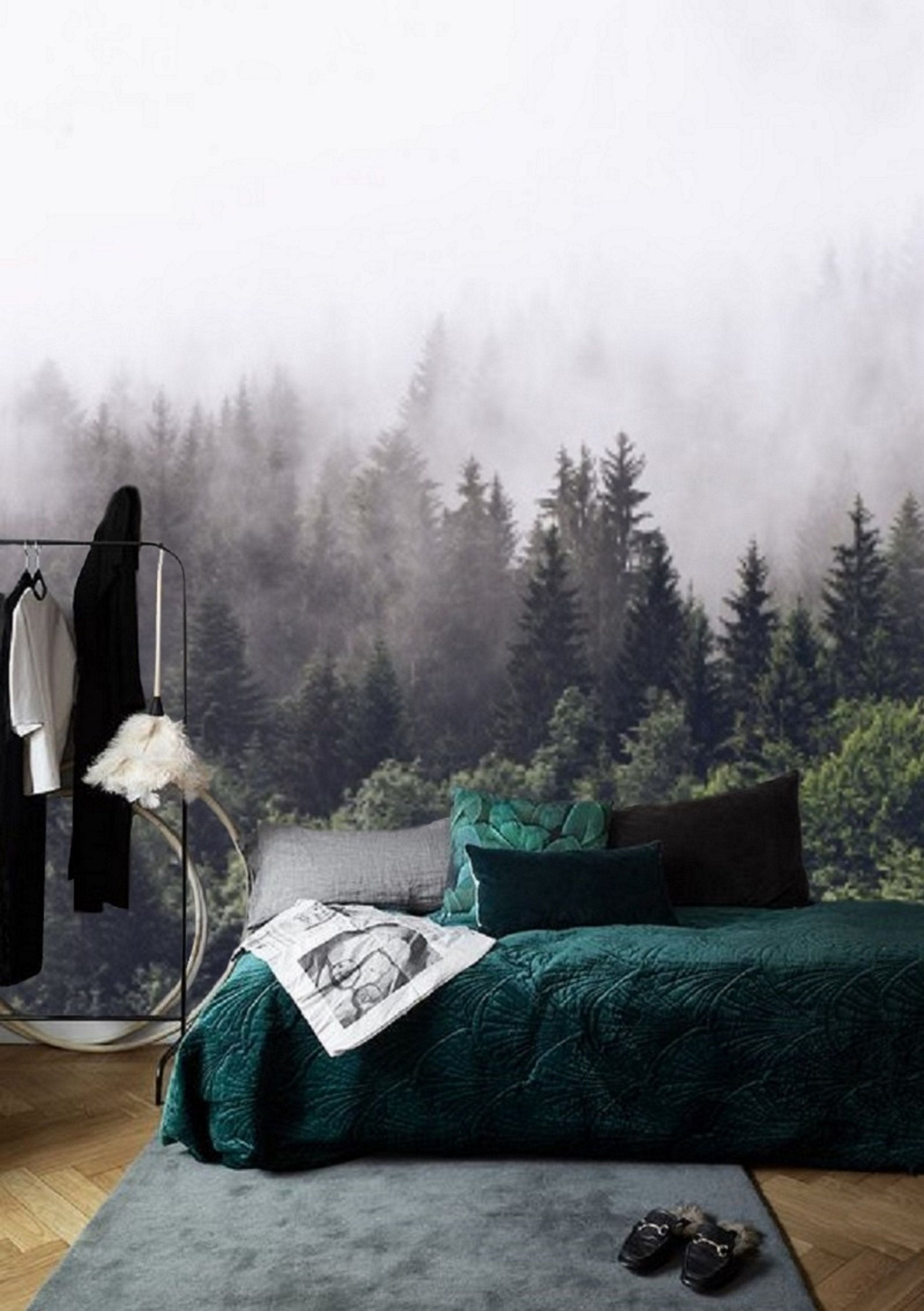Foggy Forest Wallpaper Mural Peel And Stick Wall Paper Removable Wallpaper Forest Mural Remove Wallpaper Green Misty Forest Wall Mural 92 Forest Wallpaper Forest Wall Mural Forest Mural