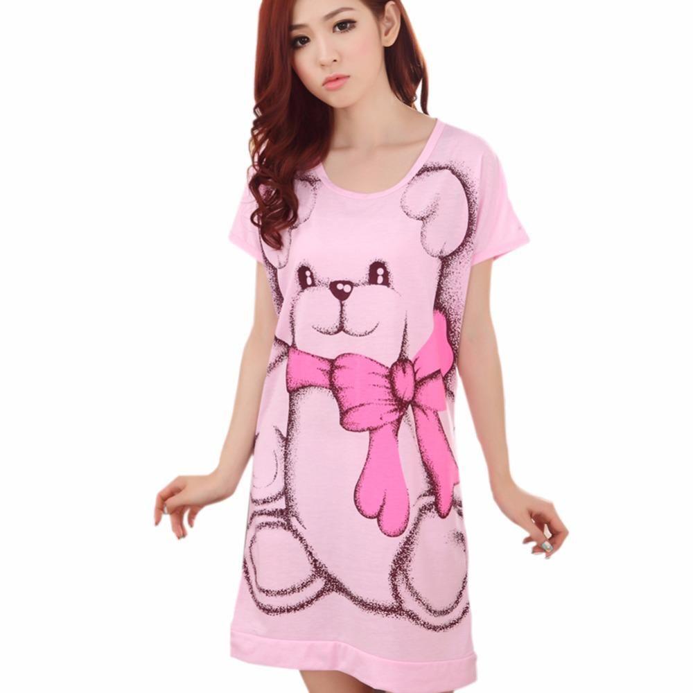 2017 Summer Women's Nightgowns Sleeveless Short-sleeve Dress Cute Girls  Sleepwear Cartoon Bear - US $5.87