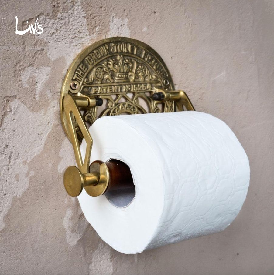 Crown Toilet Fixture Solid Brass Toilet Paper Holder Antique Brass
