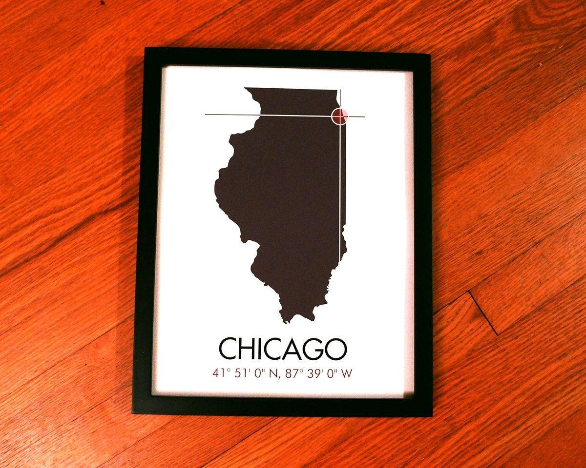 Chicago Latitude Longitude Map Art City Print