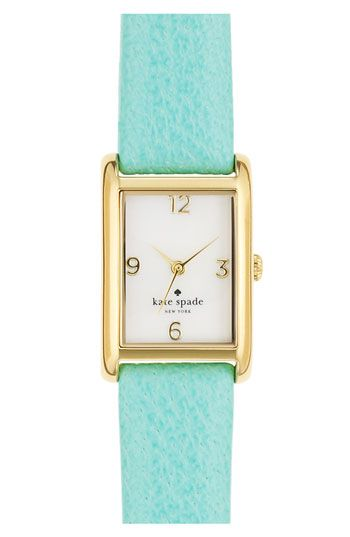 kate spade cooper leather strap watch