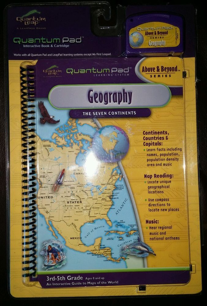 Book and Game Cartridge Geography 8 and Up NEW! LeapFrog Quantum Pad