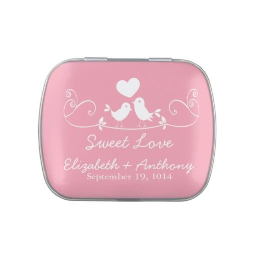 Modern Sweet Love Birds Wedding Favor Candy Jelly Belly Candy Tin