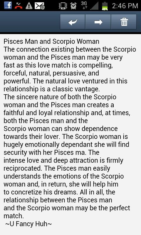 Scorpio woman & pisces man