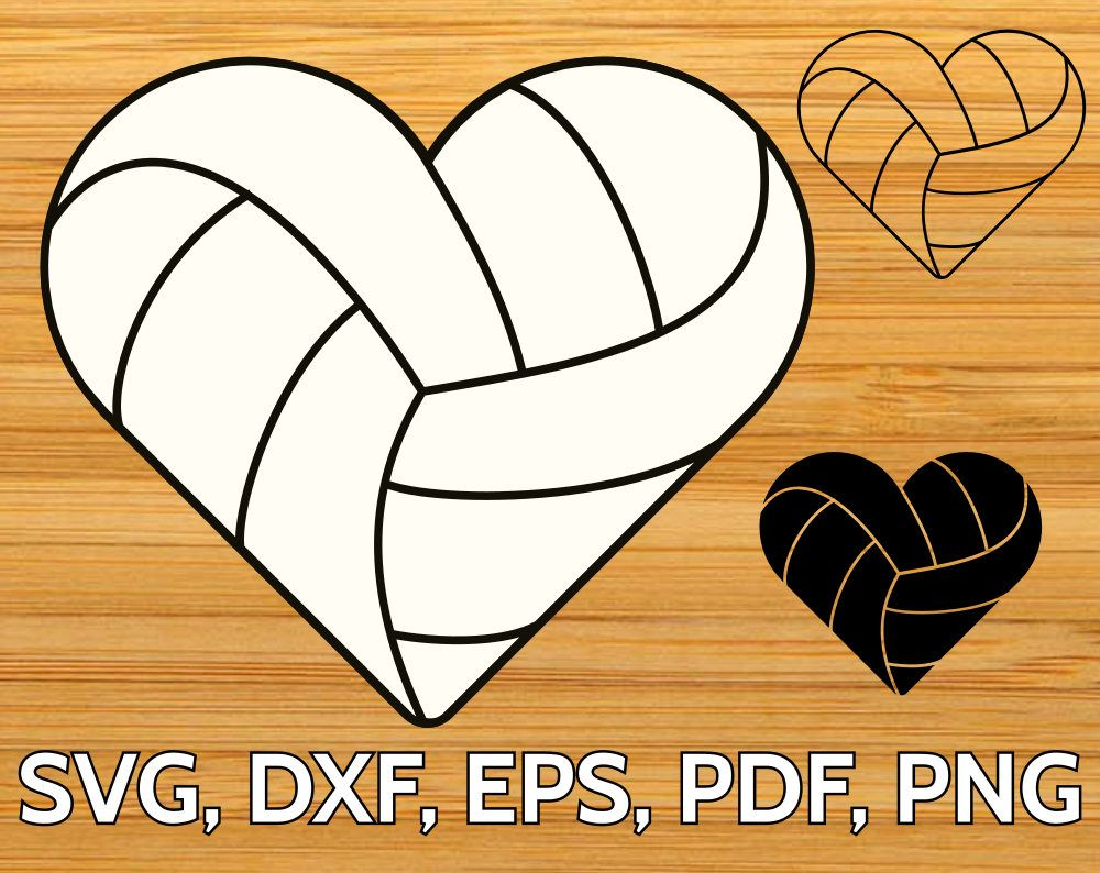 Volleyball heart shaped ball SVG file | Svg shapes, Svg ...