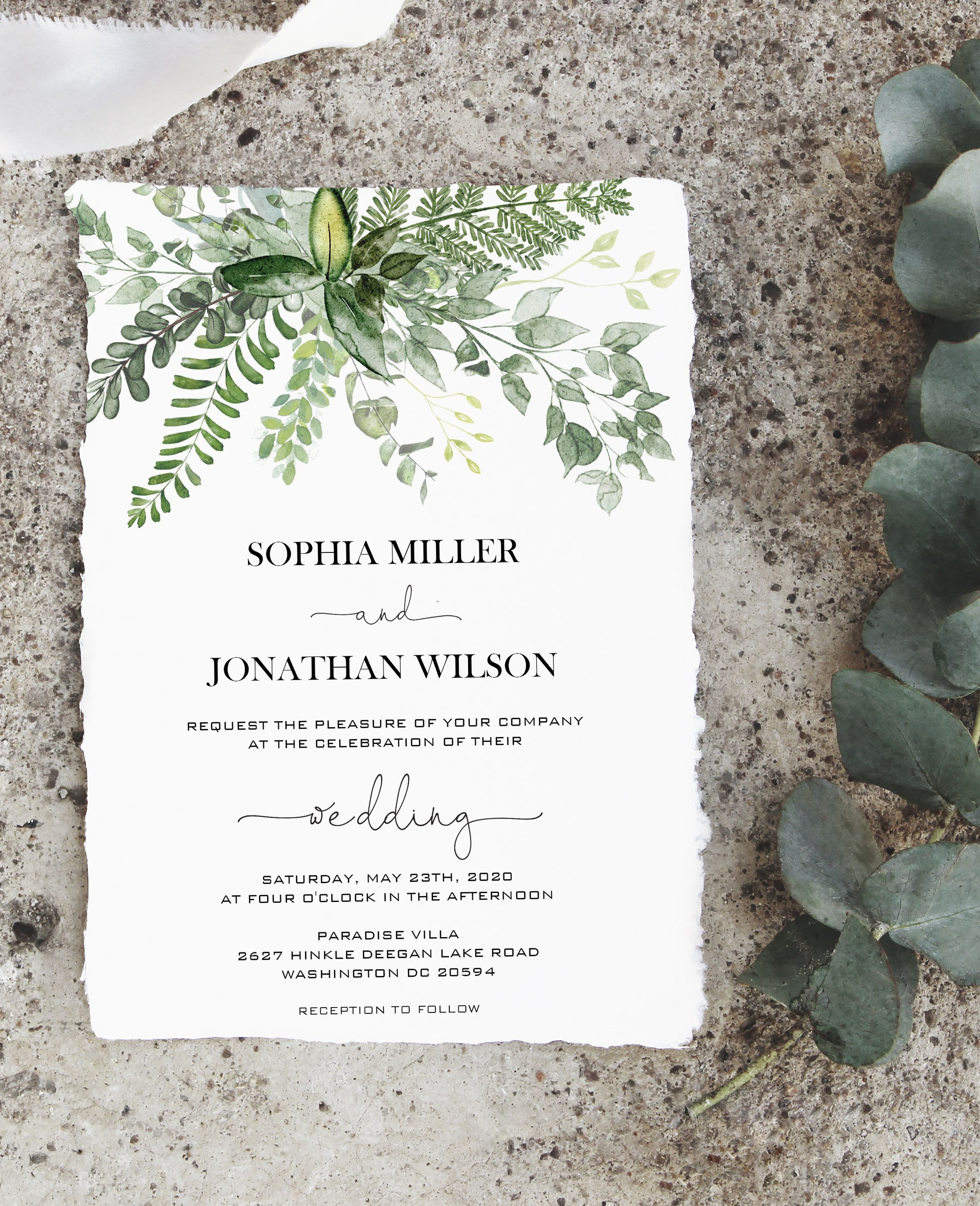 Greenery Wedding Invitation Template Printable Enchanted Forest Invite Card Editable Invite Card Fern Leaves Pdf Wedding Invitation Templates Enchanted Forest Wedding Invitations Forest Wedding Invitations