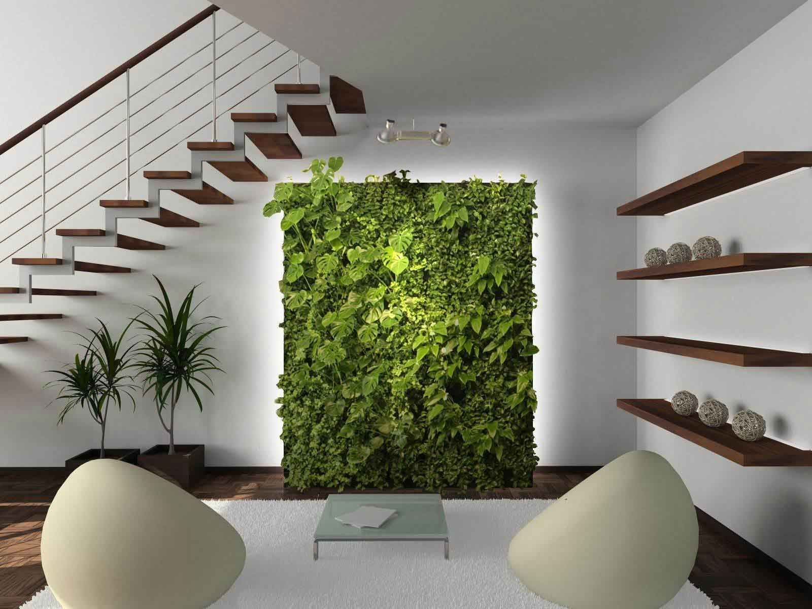 Contemporary Interior Home Decorating Ideas With Plants Under Cool ...
