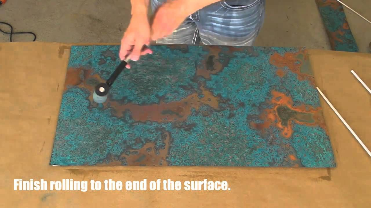 Copper Backsplash Tutorial Using Patina Copper Sheets Via Youtube Copper Diy Copper Patina Diy Copper Backsplash