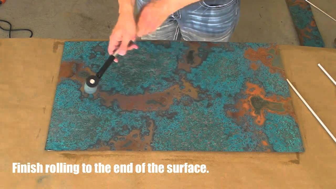 Copper Backsplash Tutorial Using Patina Copper Sheets Via Youtube Copper Diy Copper Patina Diy Copper Backsplash