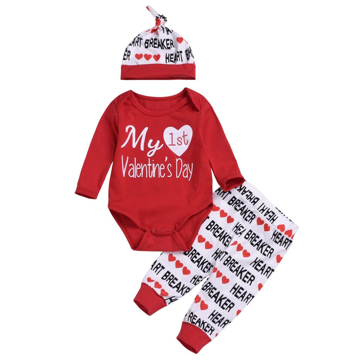 3PCS Valentine/'s Day Newborn Kids Baby Girl Clothes Tops T-Shirt Pants Outfits