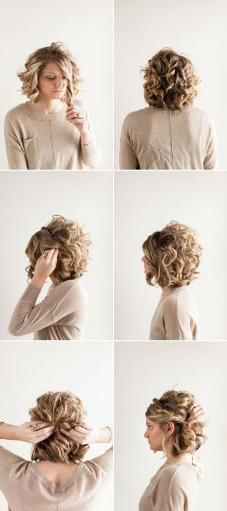 Cute Bun Hairstyles For Short Hair Updo For Curly Hair Short Wedding Hair Curly Hair Styles Really Short Hair